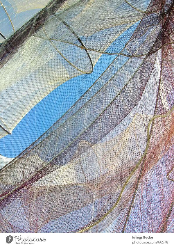 vielschichtig weiß Synthese wichtig Futter Fischer Fischernetz Wasserfahrzeug Segelboot Meer Tier Himmel blau Netz Nähgarn Seil Lebensmittel profit fischsterben