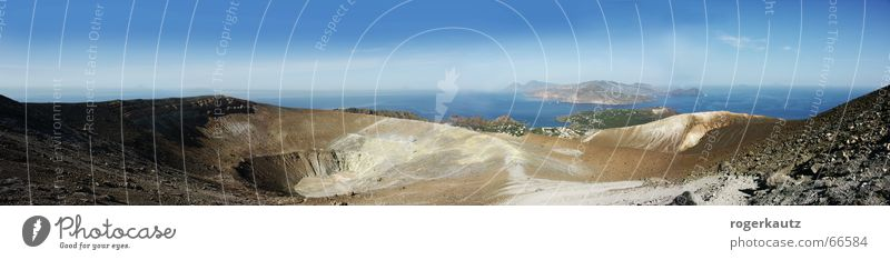 Tanz auf dem Vulkan Sommer Wärme Landschaft groß Insel Physik Panorama (Bildformat) Vulkan Italien Sizilien Vulkankrater Vulcano
