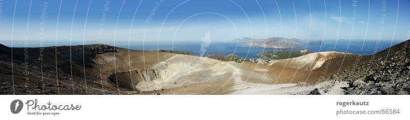 Tanz auf dem Vulkan Vulkankrater Vulcano Sizilien Panorama (Aussicht) Sommer Physik Landschaft Insel m sonne Wärme groß Panorama (Bildformat)