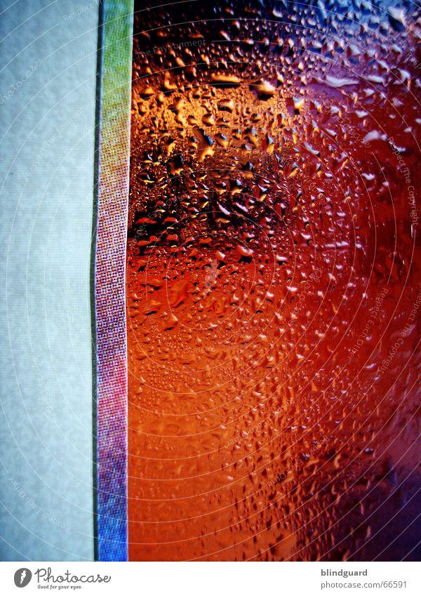 Noch ne Runde blau rot kalt Wärme Wassertropfen Coolness Getränk Flüssigkeit Physik Erfrischung Regenbogen Etikett Druck Kühlung transpirieren Schwüle