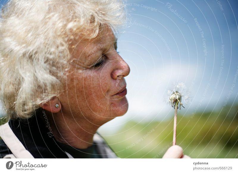 Pusteblume Mensch Frau Natur Erwachsene Umwelt Leben Senior Frühling Glück Zeit Gesundheit Gesundheitswesen Aktion Lifestyle 60 und älter 45-60 Jahre