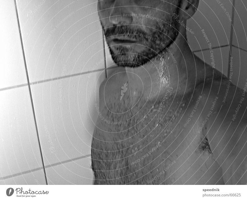 Hairy Thing II Mann weiß schwarz nackt maskulin nass Brust Bart Dusche (Installation) Dinge feucht Schweiß Stoppel Bartstoppel Dreitagebart