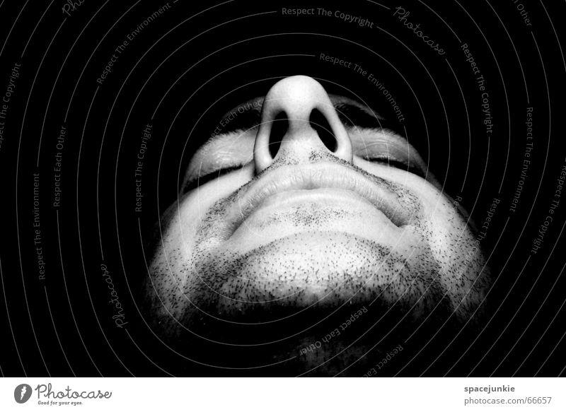 Unrasiert und ungeschminkt Mensch Mann Gesicht Nase Bart Bartstoppel
