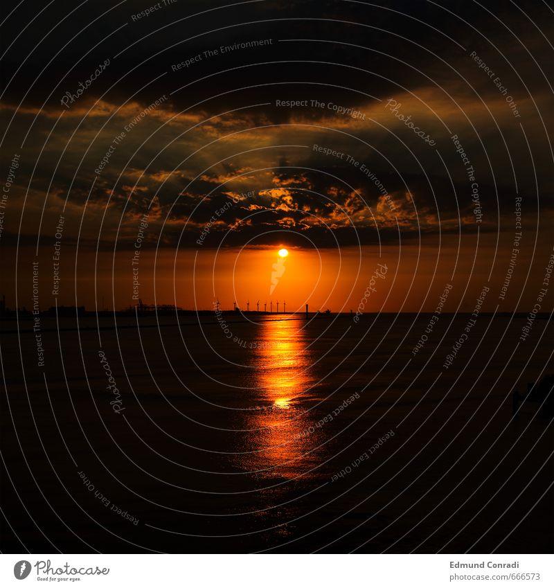 Sonnenuntergang Himmel Wasser Landschaft dunkel gelb Gefühle Küste Wasserfahrzeug Horizont Stimmung Angst Wetter orange gold gefährlich bedrohlich