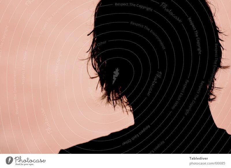 Bruderschatten Porträt Silhouette Gegenlicht Haarsträhne schwarz rot Kopf Haare & Frisuren