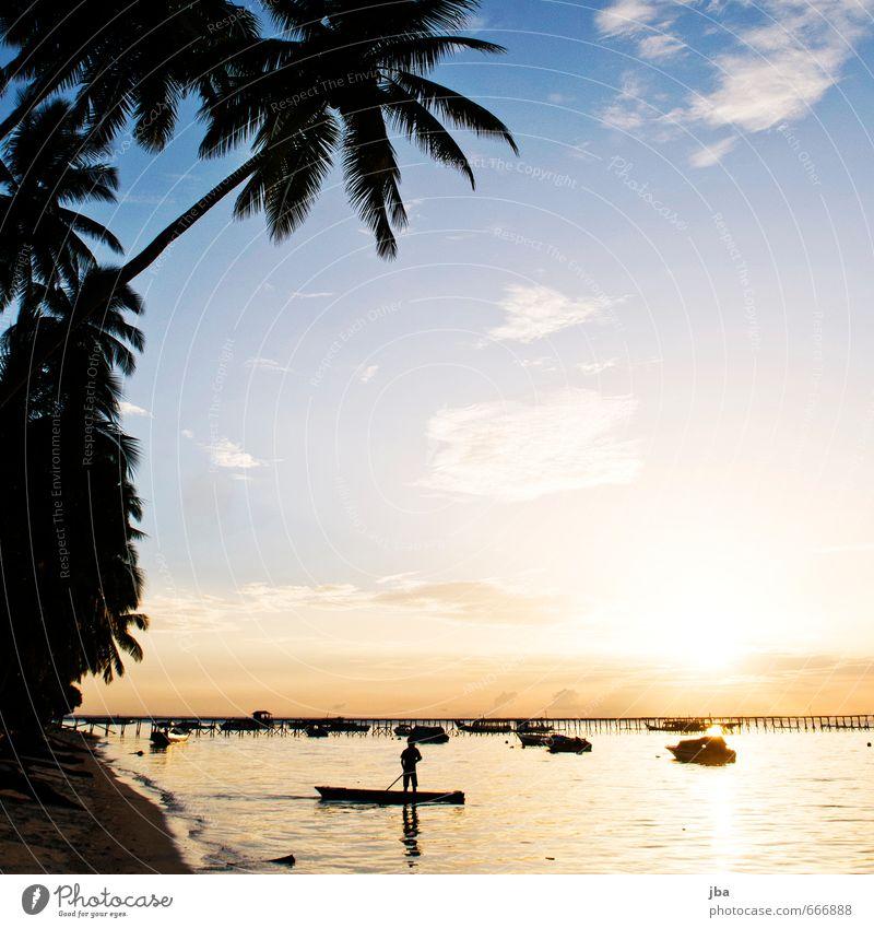 Sundown Natur Ferien & Urlaub & Reisen blau Sommer Meer Landschaft ruhig Ferne Strand Schwimmen & Baden orange Zufriedenheit Tourismus Insel ästhetisch