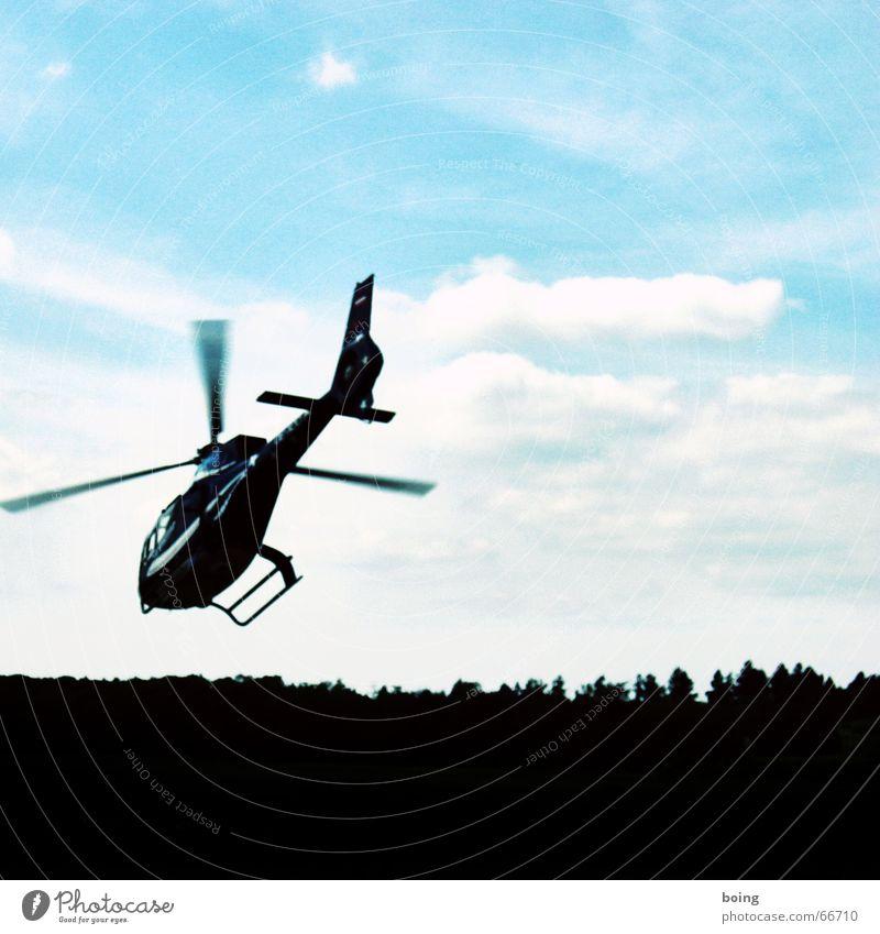 noch schnell zum Vertragsabschluß nach Lugano ... Ferien & Urlaub & Reisen Wolken Wald Angst fliegen Luftverkehr Macht Panik Schwung Hubschrauber ausschalten Schneckenhaus Bionik Rettungshubschrauber