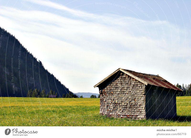 . Himmel grün blau ruhig Wolken gelb Erholung Wiese Berge u. Gebirge Hütte