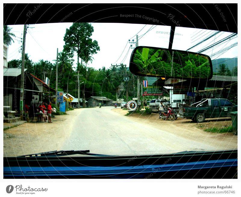road trip Straße Wege & Pfade PKW Spiegel Dorf Palme Fensterscheibe Thailand Rückspiegel Geländewagen Koh Samui Linksverkehr