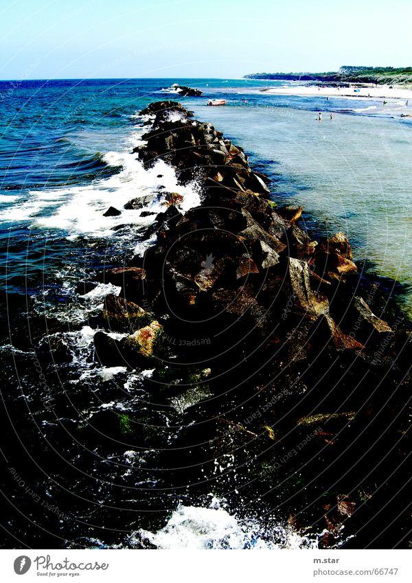 Water is breaking Rocks Wasser Meer blau Strand See Horizont Felsen Ostsee Darß