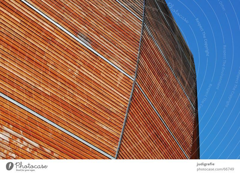 Arche Himmel blau Holz Wärme Linie braun modern Physik Hannover Weltausstellung