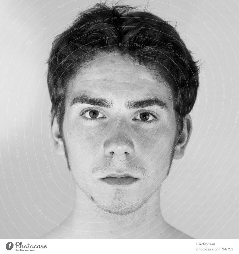 Sei einmal ehrlich - Mann Gesicht schwarz kalt Stil Haare & Frisuren Haut Trauer Ohr Müdigkeit Verzweiflung fertig ernst streng