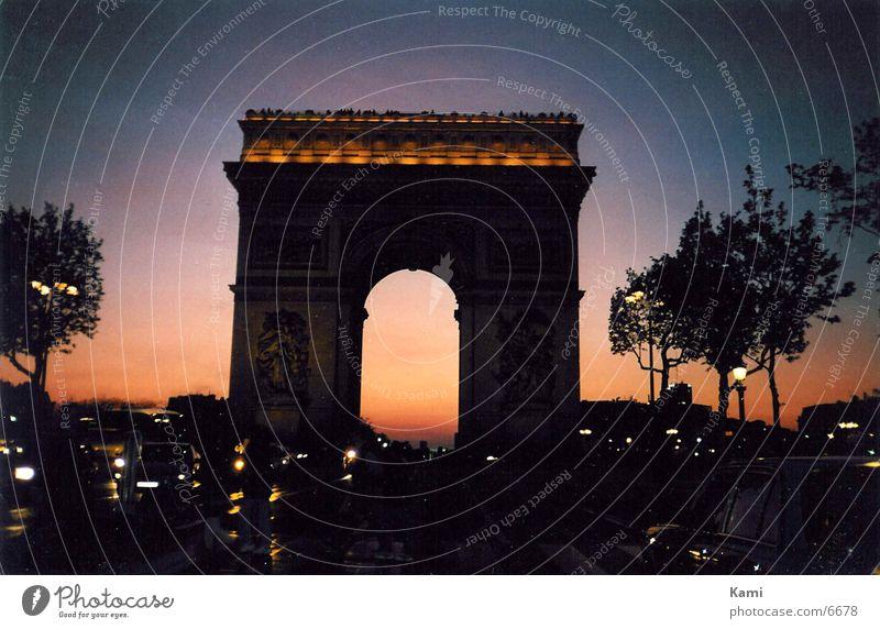 Triumphbogen Paris Sonnenuntergang Gegenlicht Nacht Champs Élisée