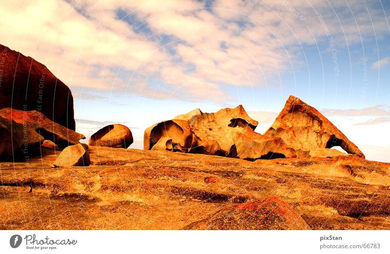redRocks Himmel rot Wolken Stein Felsen Insel Australien Farbenspiel Gesteinsformationen Känguru-Insel