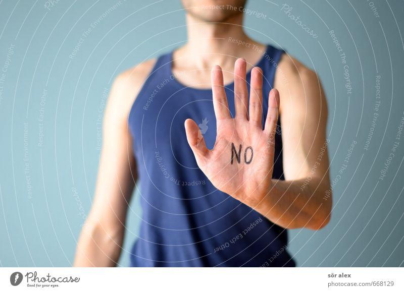 NEIN Mensch blau Hand Erwachsene sprechen maskulin Schriftzeichen Kommunizieren Telekommunikation Team Mut selbstbewußt gegen Willensstärke wählen