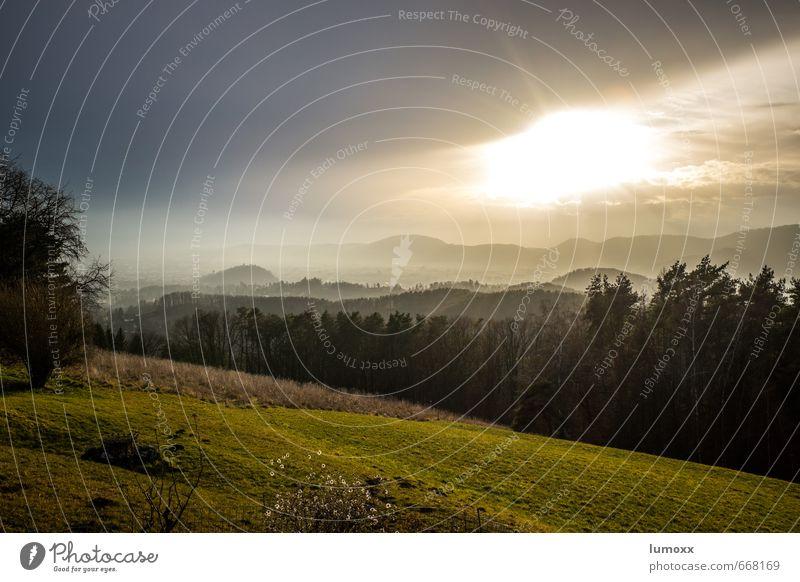 blick auf graz Landschaft Himmel Wolken Sonne Wetter Nebel Baum Hügel Graz Stadt Stadtrand bevölkert grau grün Schlossberg Aussicht Farbfoto Außenaufnahme