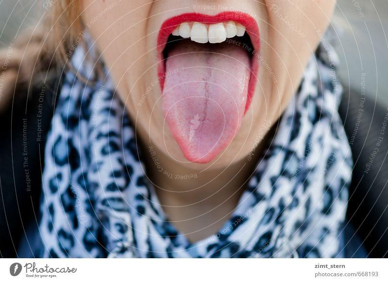 Rock'n'roll! Jugendliche rot Junge Frau Erotik Gefühle feminin Feste & Feiern wild Mund Kommunizieren einzigartig Zähne Lippen Wut Aggression frech