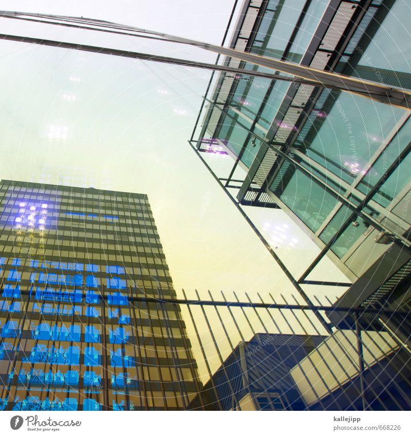 europa-center Stadt Hauptstadt Haus Gebäude Architektur Fassade Fenster blau gold Fensterscheibe glänzend Reflexion & Spiegelung Farbfoto Außenaufnahme Licht