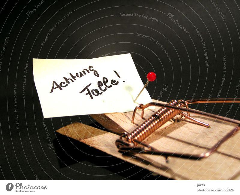 Achtung Falle ! Haus Wohnung gefährlich Kommunizieren Jagd Hinweisschild Maus Respekt Warnhinweis Hinterhalt Mausefalle