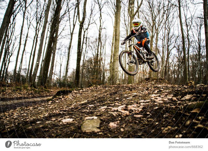 Ride-on Racing Fototour Freizeit & Hobby Downhill Fahrradtour Wald Waldboden Blatt Baum springen Stein Erde Frühling Sport Sportmannschaft Fahrradfahren