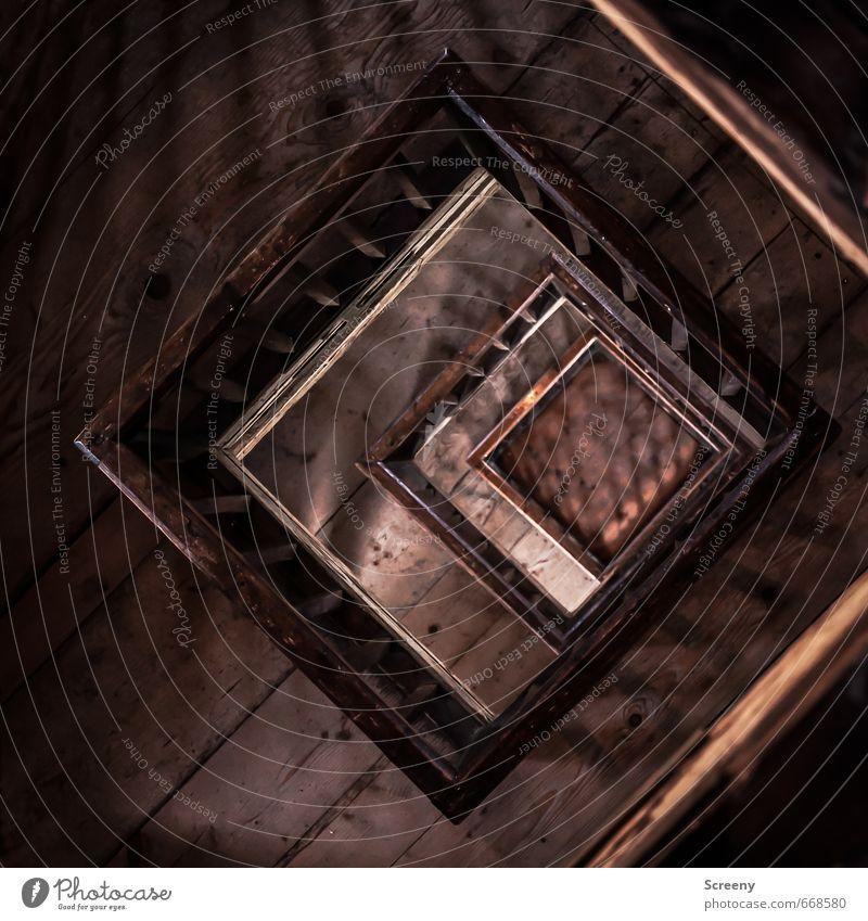 Nicht fallen... Gebäude Holz braun Zufriedenheit Turm Geländer Bauwerk Höhenangst Etage eckig