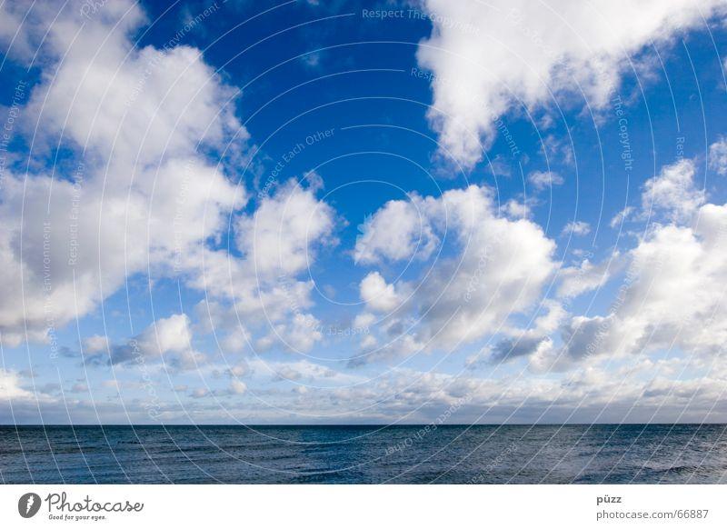 Mehr Wolken Himmel blau Wasser weiß Ferien & Urlaub & Reisen Meer Strand Wolken Ferne See Horizont Wetter Wind Klima frei frisch