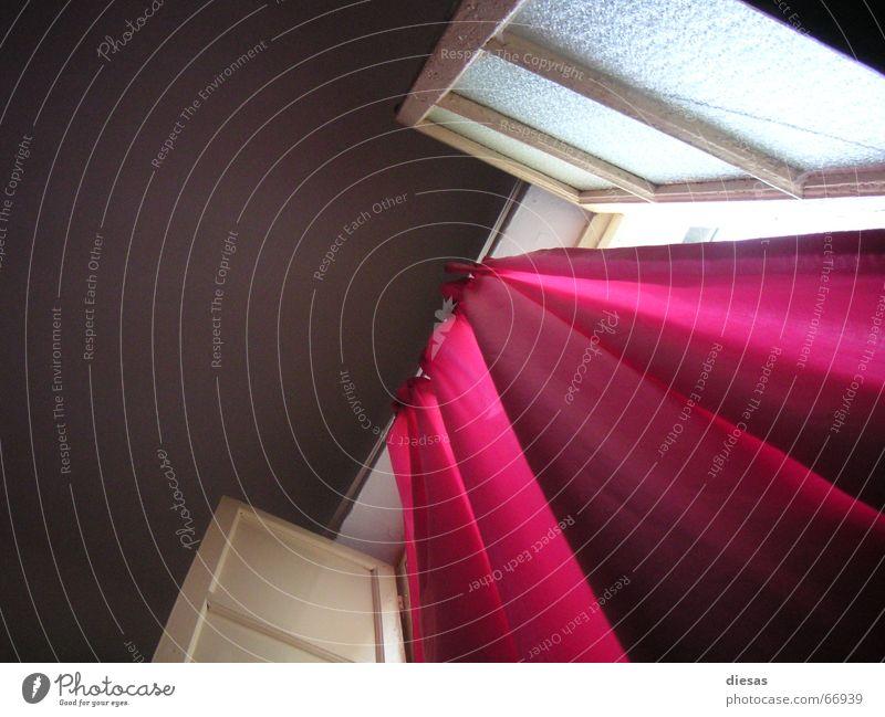 Pink Curtains Fenster Gardine Vorhang Fensterladen Zimmerdecke Schlafzimmer Innenarchitektur Morgen Morgendämmerung