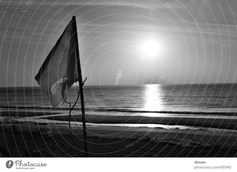 Frieden morgens um 7 Sonne Meer Strand ruhig Denken Hoffnung Fahne Frieden