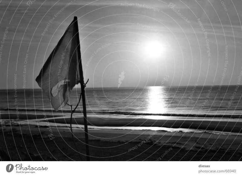 Frieden morgens um 7 Sonne Meer Strand ruhig Denken Hoffnung Fahne