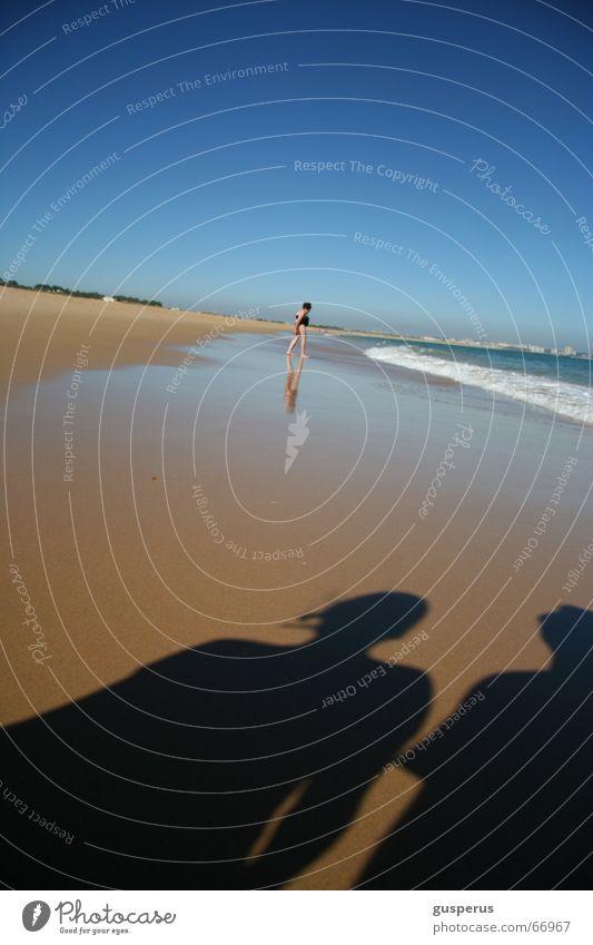 { schattenspiel } Meer Brandung Strand Erfrischung Sommer Ferien & Urlaub & Reisen ruhig Rauschen Wellen Ebbe scahtten Sand Wasser enspannung