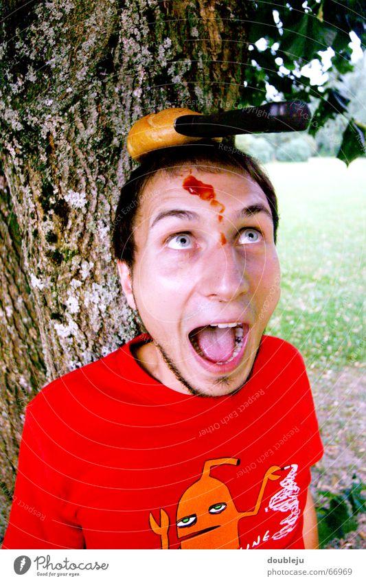 der semmelmörder Baum grün Angst schreien Blut Brötchen Messer Hilferuf Schrecken Hilfsbedürftig Ketchup