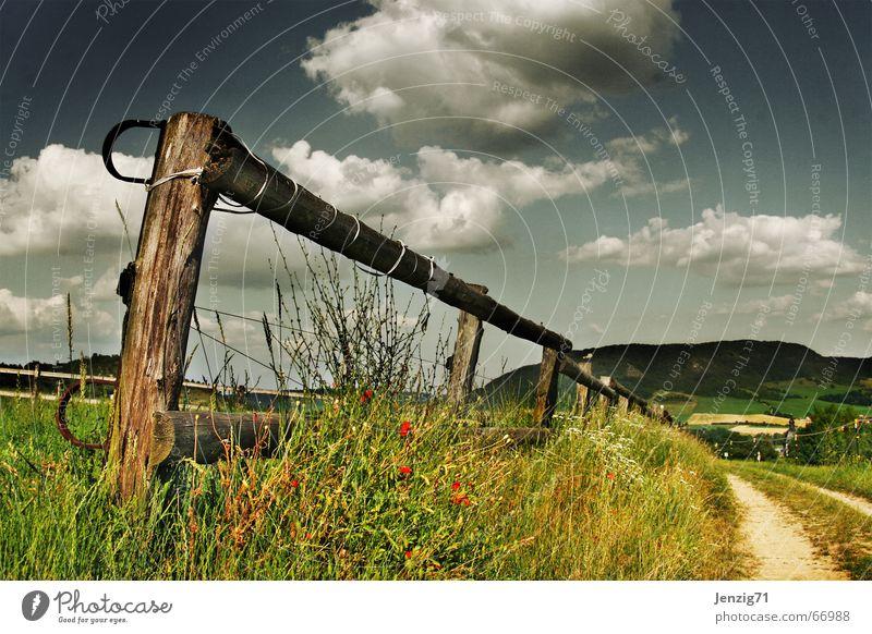 Perspektivisch. Zaun Weide Wolken Gras Wiese Sommer Feld Fußweg Wege & Pfade Himmel Berge u. Gebirge