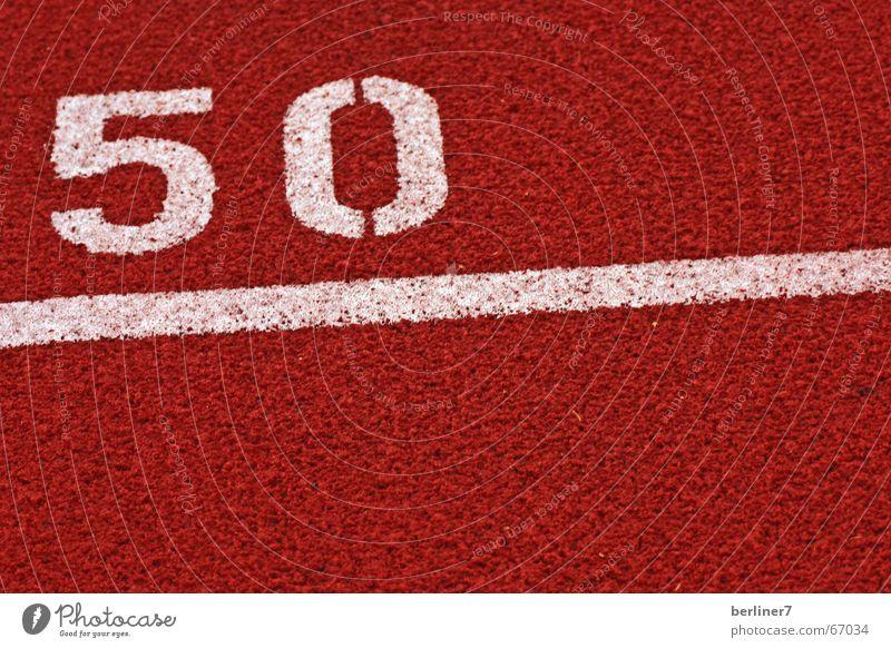 Herzlichen Glückwunsch zum 50. weiß rot Ziel Sport Jahr 50 Meter Symbole & Metaphern 100 Meter Lauf Laufbahn Langstrecke
