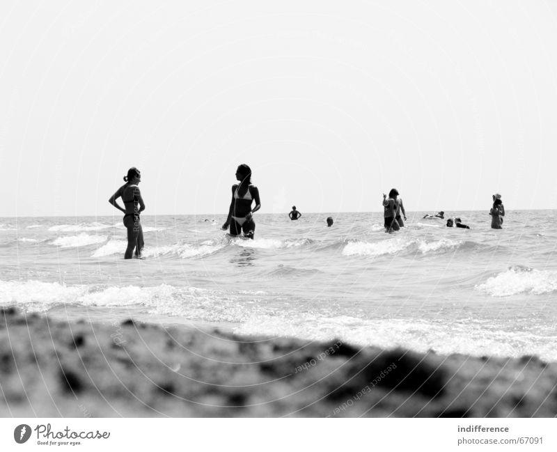 Beach Scene Strand Sommer Mensch Bikini wave Sand black white sea woman