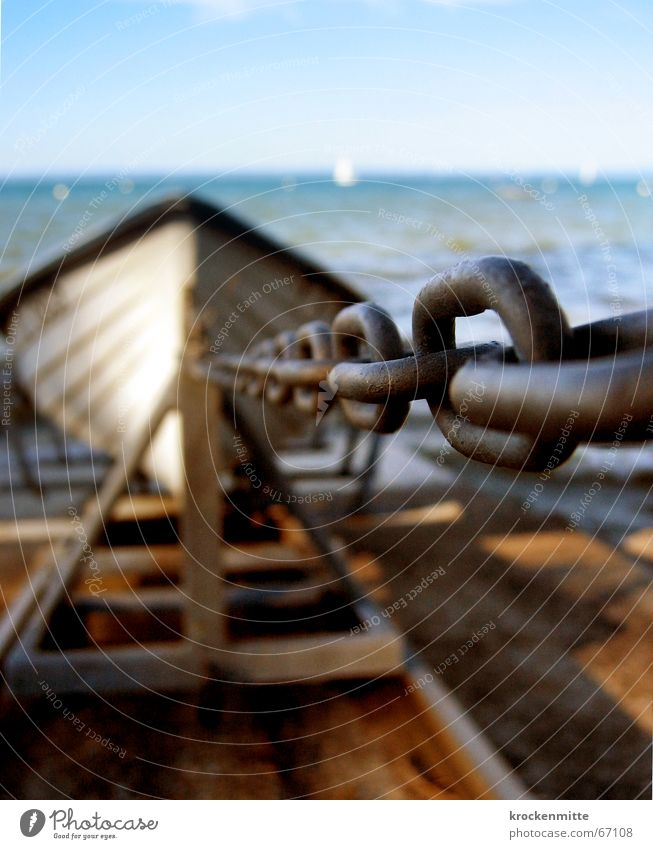 Das Fischerboot vom Bodensee Wasserfahrzeug See Sommer anketten Kettenglied Eisen Verbundenheit Metall Verbindung stappellauf