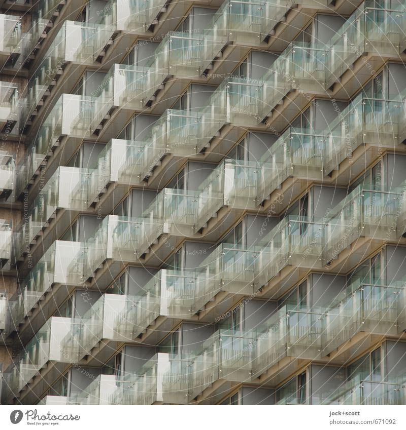 Balkone im Quadrat Stil Budapest Hochhaus Hotel Fassade Glas eckig modern Einigkeit Ordnung gleich diagonal glänzend Abstufung durchsichtig Detailaufnahme