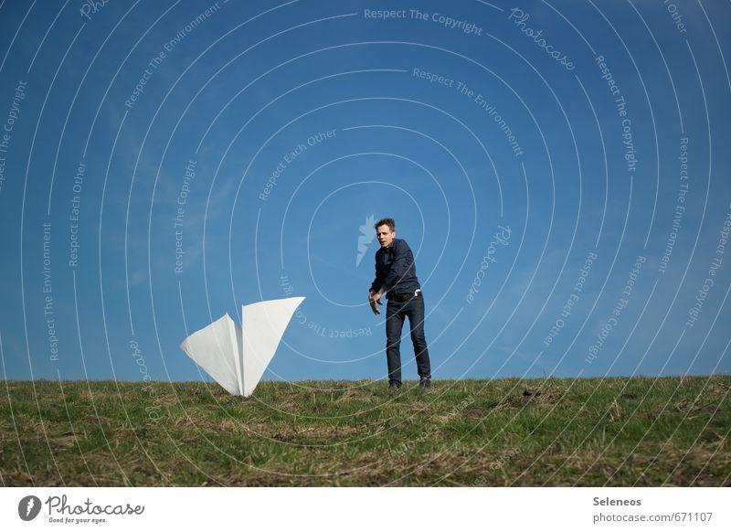 Bruchlandung Ausflug Luftverkehr Raumfahrt Mensch maskulin Mann Erwachsene 1 18-30 Jahre Jugendliche Umwelt Natur Himmel Schönes Wetter Gras Wiese Flugzeug