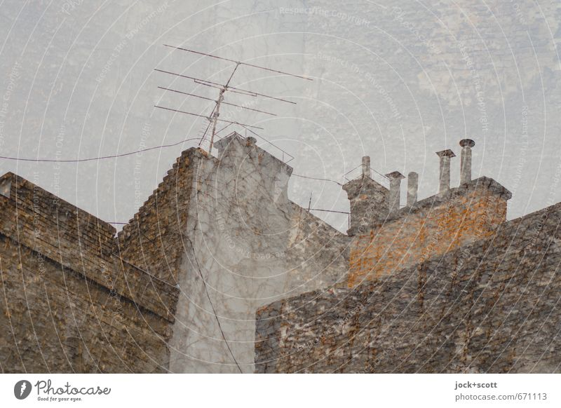 Club Doppelbrand Architektur Budapest Stadtzentrum Altstadt Schornstein Antenne Brandmauer Putzfassade Sammlung Backstein alt fest historisch oben retro braun