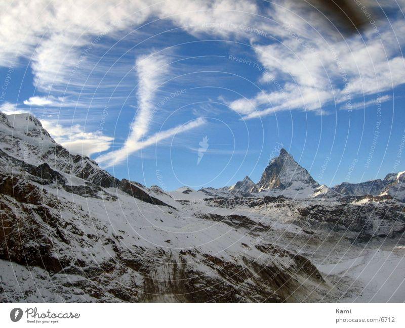 matterhorn Himmel Natur Wolken Schnee Berge u. Gebirge Landschaft Umwelt Bewegung Felsen Tourismus Europa Alpen Schweiz Gipfel Gletscher Luftaufnahme