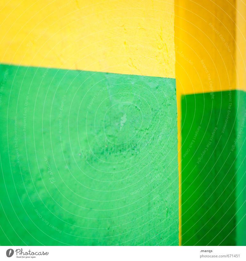 Brazil grün Farbe gelb Wand Mauer Stil Hintergrundbild Linie Lifestyle elegant Design Beton einfach Grafik u. Illustration Coolness trendy