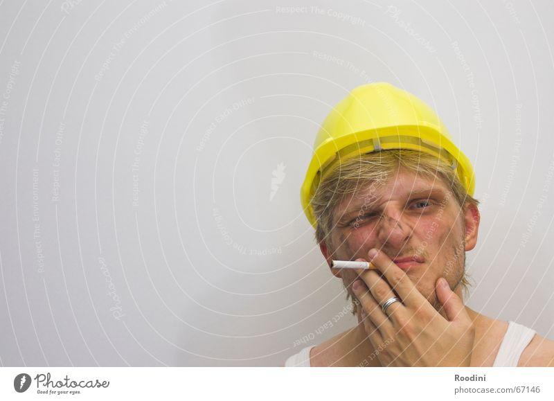 Am Bau 2 Mann Arbeit & Erwerbstätigkeit dreckig Baustelle Beruf Zigarette Handwerker Maschine Helm Topf Arbeiter Ruhrgebiet Bergbau Porträt Ingenieur