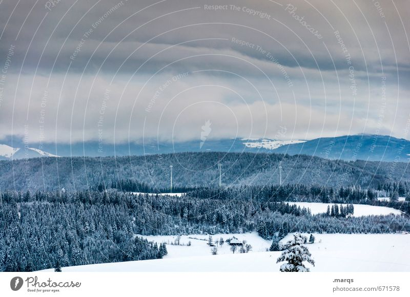 Schwarzwaldweißblau Himmel Natur Landschaft Winter kalt Wald Berge u. Gebirge Umwelt Schnee Horizont Wetter Erde Klima Ausflug Urelemente Wandel & Veränderung