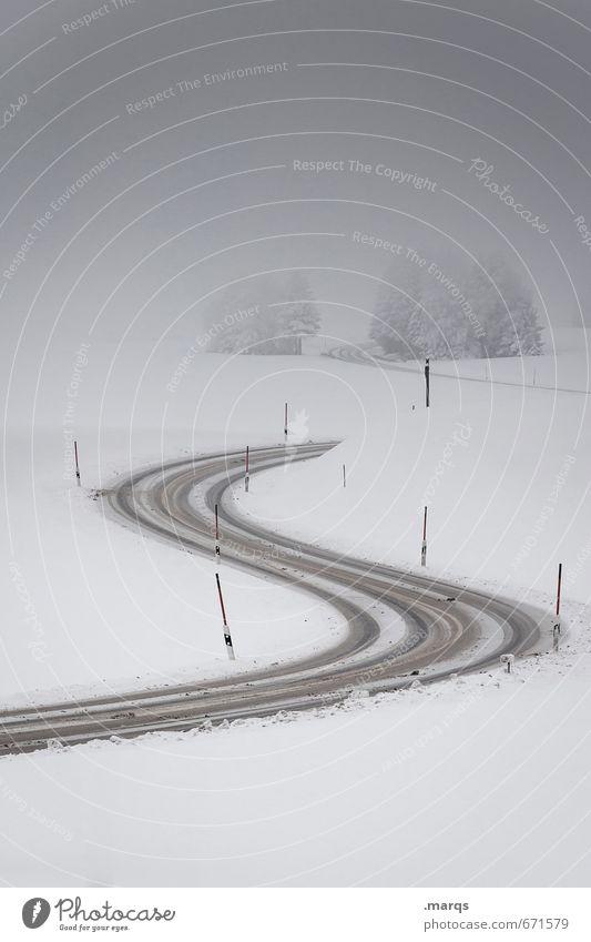 S Ausflug Umwelt Natur Landschaft Himmel Wolken Winter Klima Wetter Schnee Pflanze Baum Verkehr Verkehrswege Straße Kurve fahren einfach kalt Stimmung