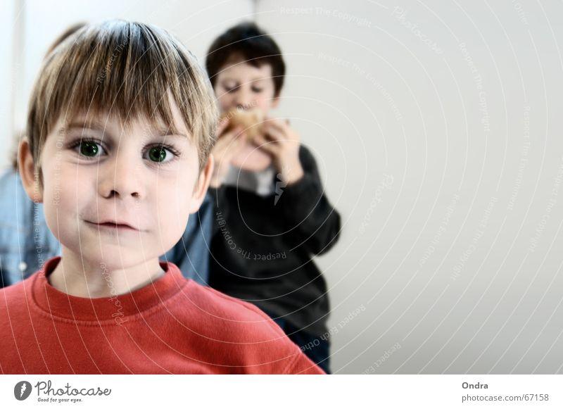 Frechdachs II Kind Freude Gesicht Junge lustig Ernährung maskulin verrückt Gesichtsausdruck Grimasse