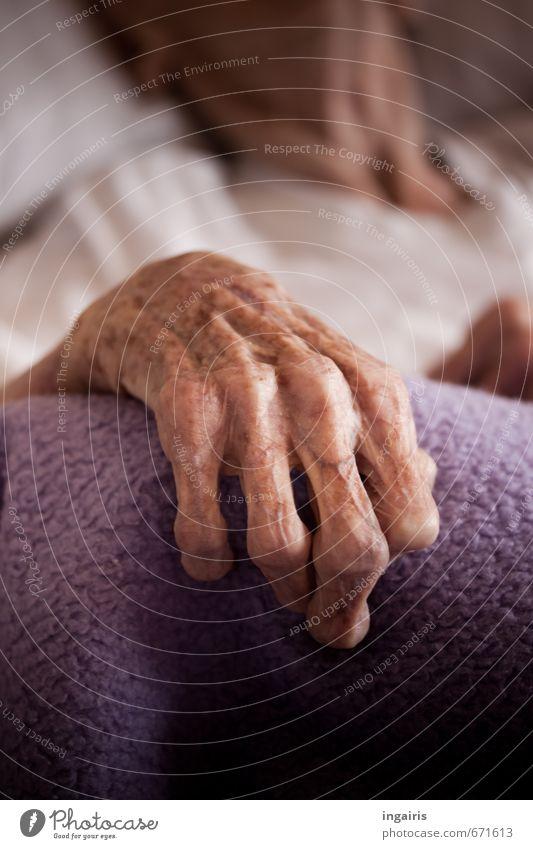 Noch nicht loslassen.... Mensch Frau alt Hand Einsamkeit Traurigkeit Gefühle Senior Tod Stimmung liegen Körper 60 und älter Finger Vergänglichkeit Hoffnung