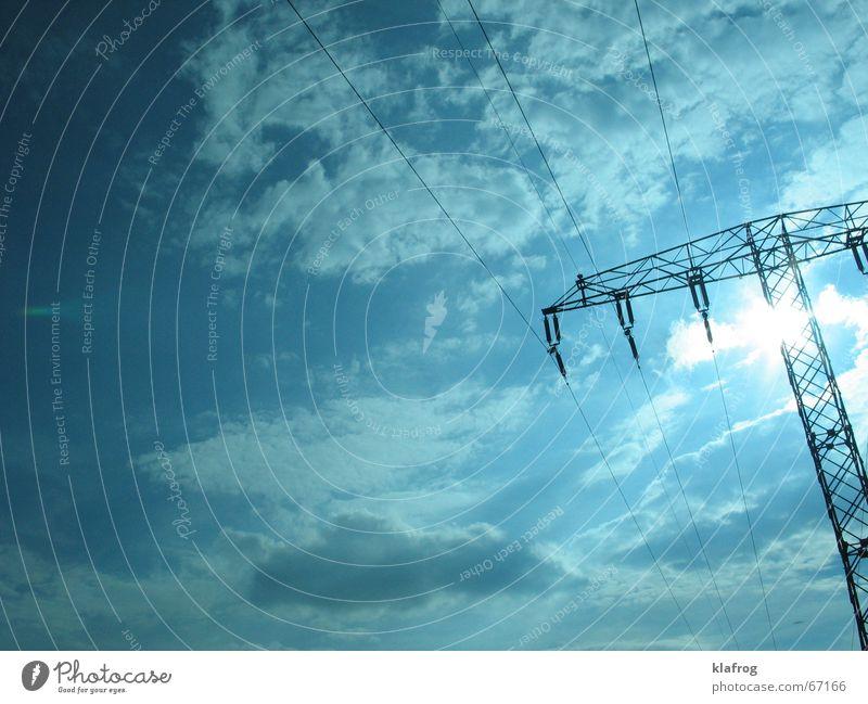 Renewable energy sources Baum Wolken Endzeitstimmung Stimmung fahren ruhig Elektrizität schwingen Zukunft Himmel Sonnenenergie Wissenschaften Industrie Macht