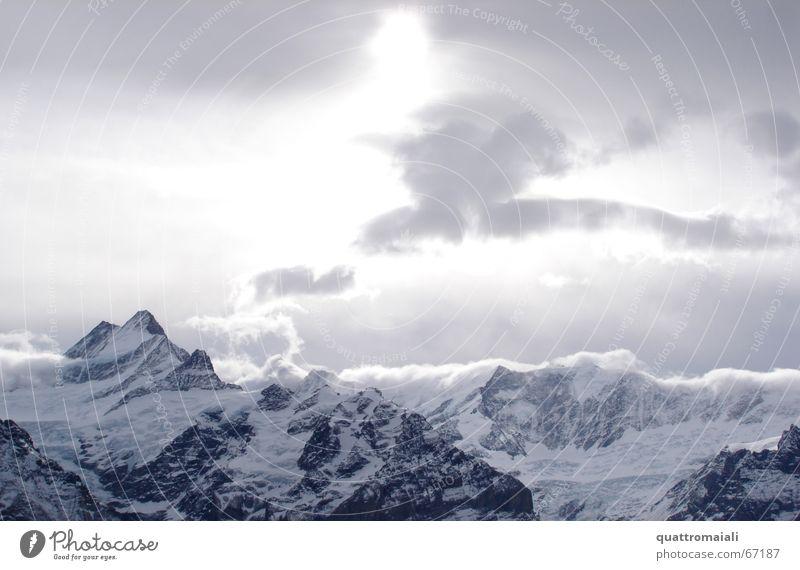 Wintersonne Wolken Gipfel Grindelwald Schweiz Licht kalt Gletscher Sonne Alpen Schnee difuses licht Berge u. Gebirge Felsen Eis