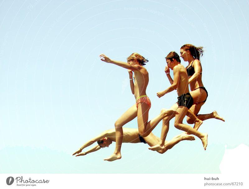 standing moment ? springen Luft fliegend Badehose Bikini Shorts Beine Fuß Haare & Frisuren reinspringen Nase nase zu halten Sommer Schwimmen & Baden 4 Air