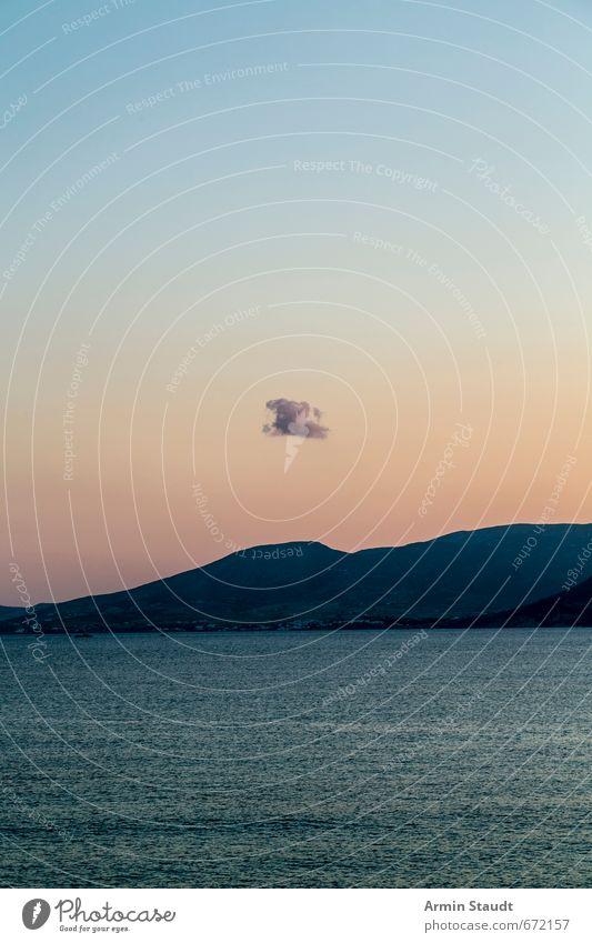 Zen-Landschaft: einsame Wolke Himmel Ferien & Urlaub & Reisen blau schön Sommer Wasser Meer Erholung Einsamkeit Wolken ruhig Ferne Glück Stimmung Zufriedenheit