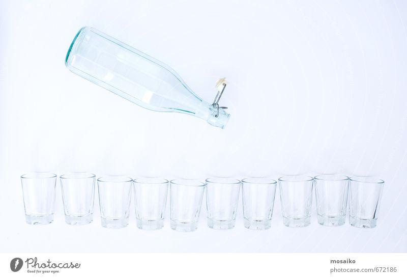 Bottle and glasses blau Sommer Wasser Lifestyle Party Design Glas leer Trinkwasser Armut Getränk Bildung rein durchsichtig Reichtum